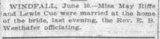 James Lewis Cue - Riffe Marriage - Indianapolis News - 10 Jun 1902 -