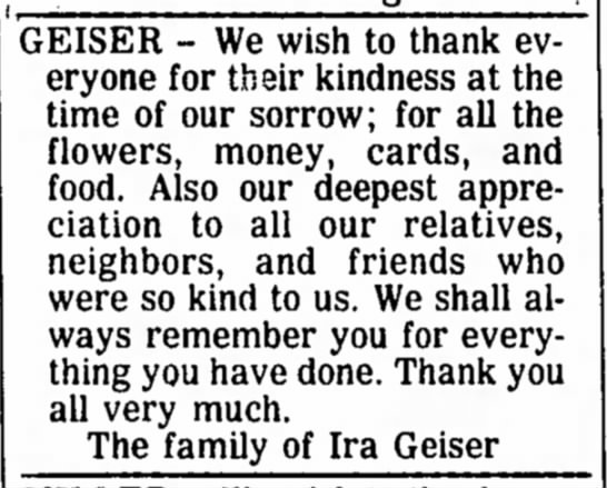 - GEISER - We wish to thank everyone for their...