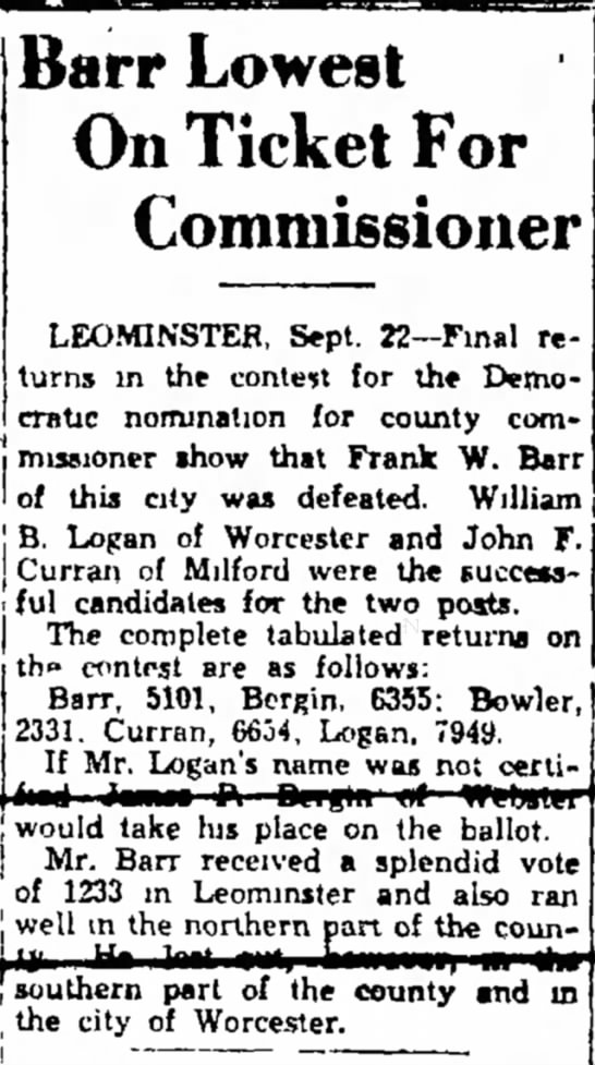 Barr defeated for Commissioner 22 Sep 1932 -