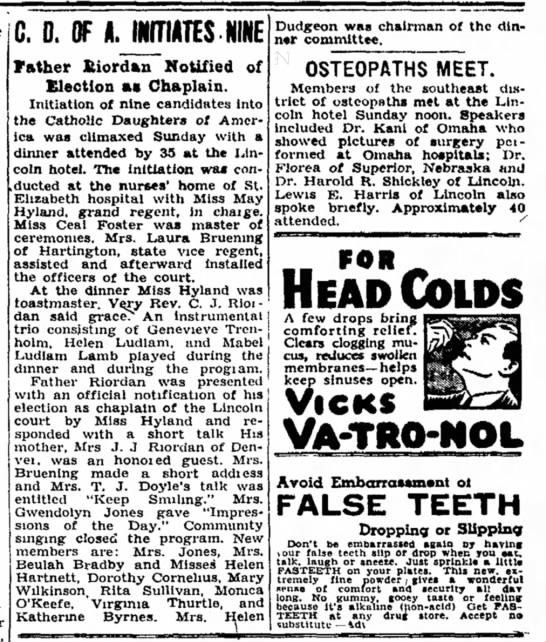 Laura Bruening - 22 Nov 1937 - Lincoln Evening Journal, Lincoln NE -