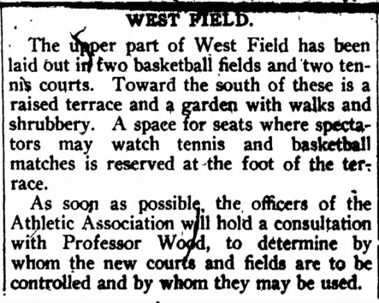 Basketball and tennis in 1903. -
