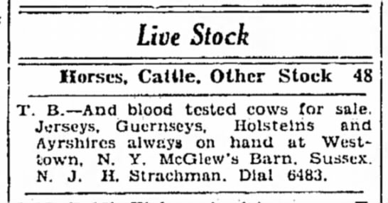 McGlew dairy cows for sale, 6 Apr 1932 -