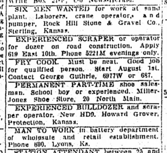 Fry Cook Wanted - 1951 -