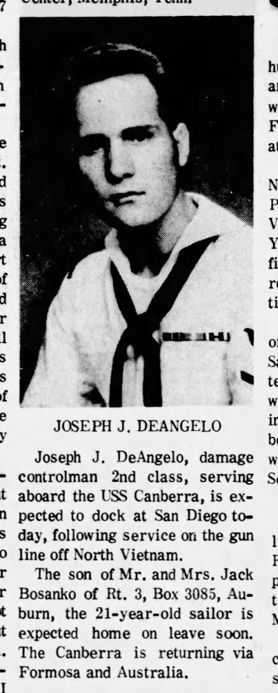 Joseph J. DeAngelo expected home on leave from Navy soon -