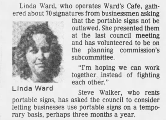 Sign loophole draws defense in Round Rock - Linda Ward - Ward's Cafe -