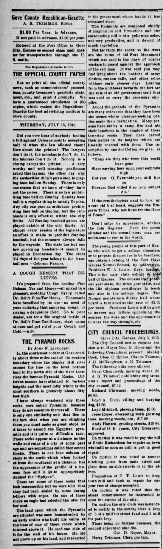 "1915 Description of Monument Rocks - ""Pyramid Rocks"" -"