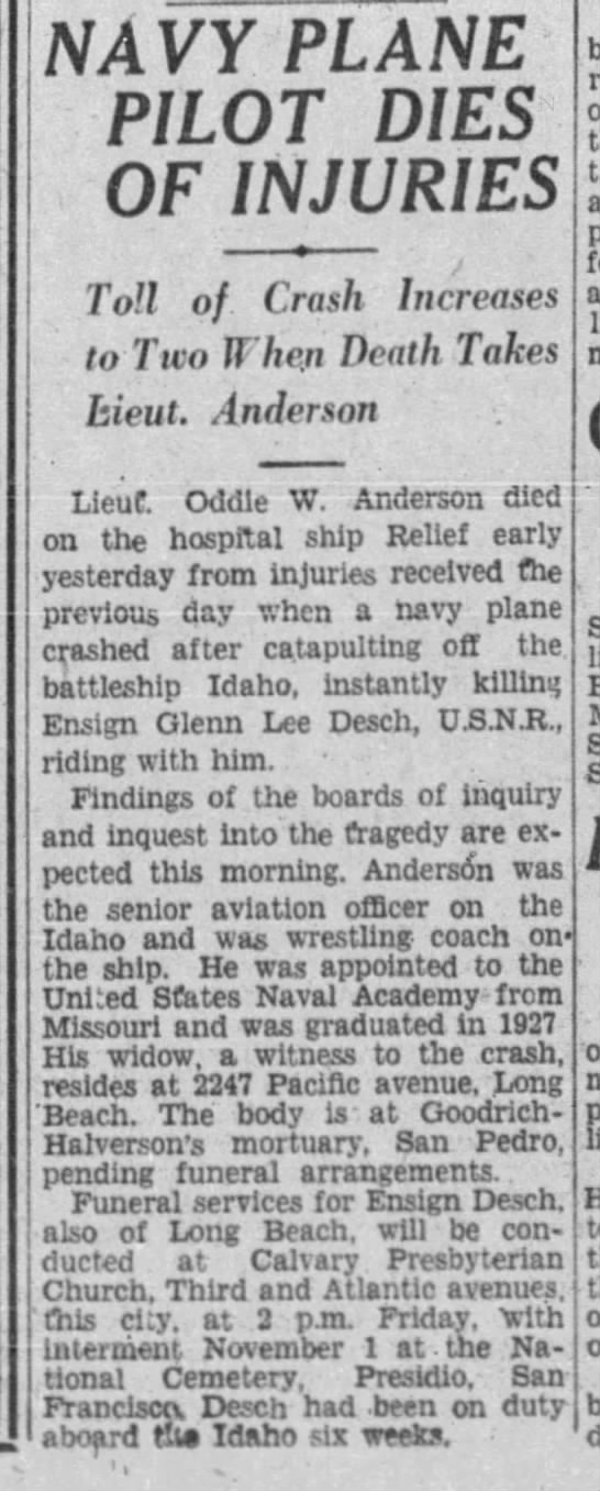 The tragic passing of Oddle W Anderson, 28 October 1930, Los Angeles, California. -