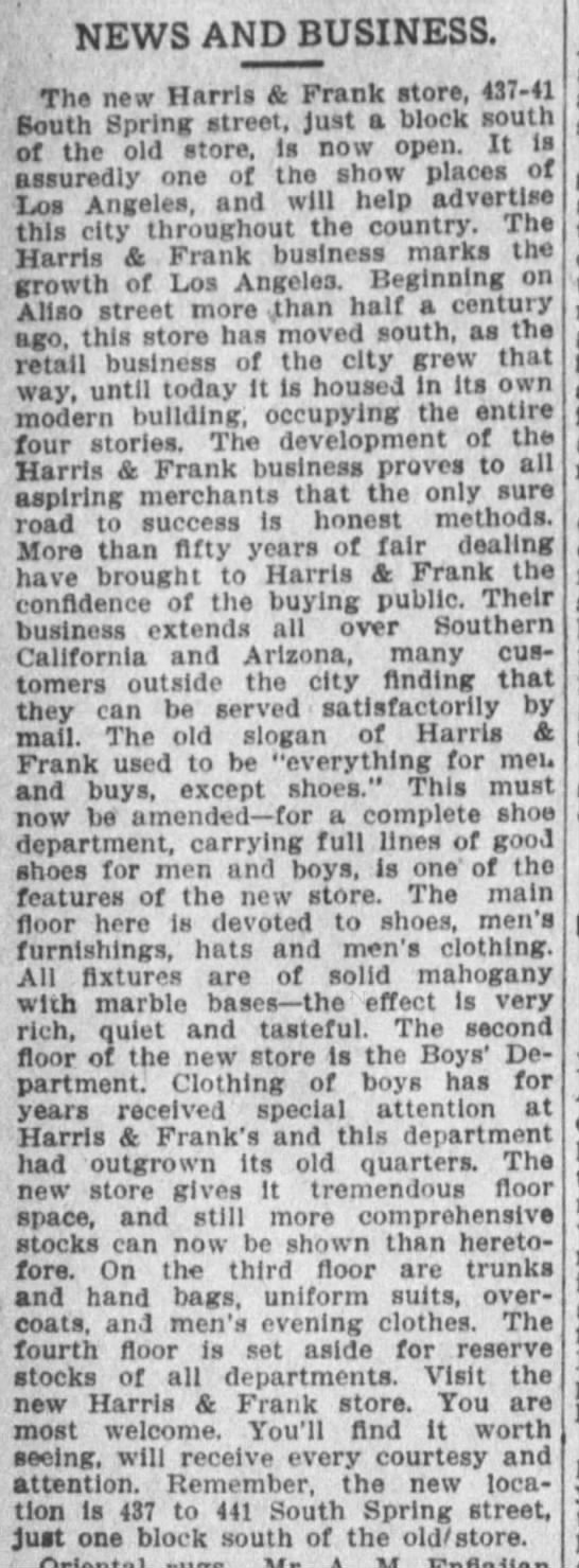 H&F moves a block on Spring St. Sep 1907 -
