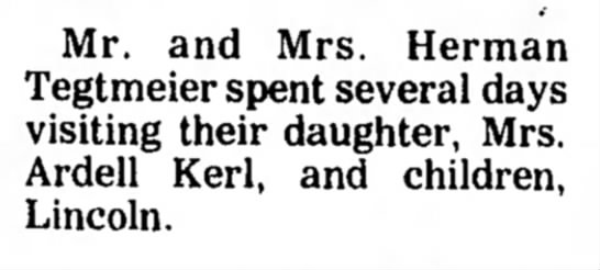 Kerl, Ardell Visit 17 Apr 1976 Beatrice Daily Sun -