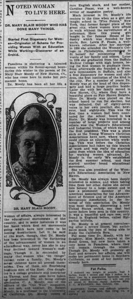 Noted Woman to Live Here. The Los Angeles Times (Los Angeles, California) March 19, 1905, p 18 -