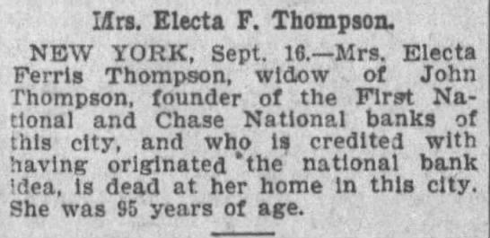 Mrs. Electa F. Thompson -
