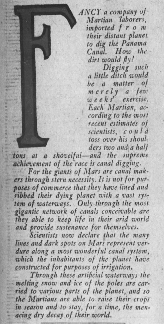 Excerpt from Los Angeles Times feature on Mars canals, 1907 -