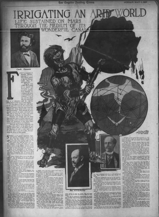Los Angeles Times feature about Mars canals, 1907 -