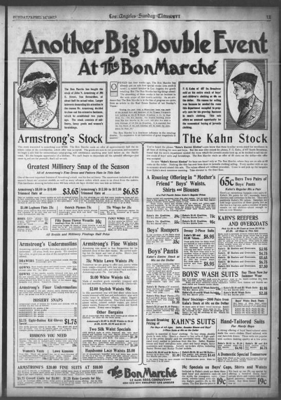 Bon Marché (Le Sage Bros. Inc.) department store 4th & Broadway 1907 -