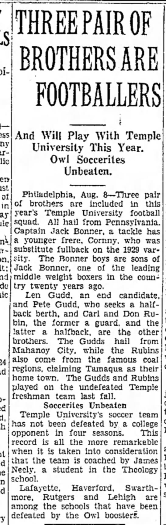 Len and Pete Gudd Brothers, at Temple University. -