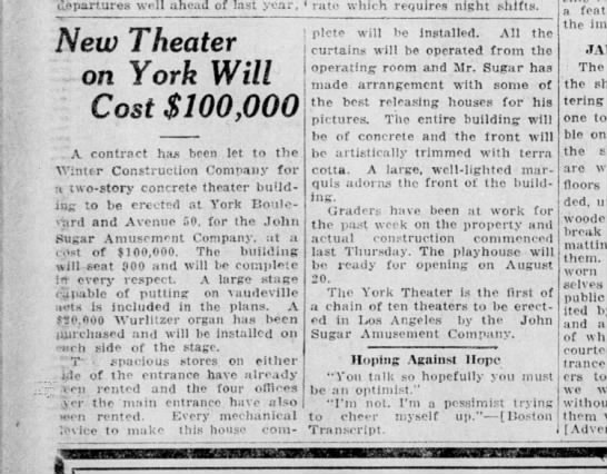 York Theater story -