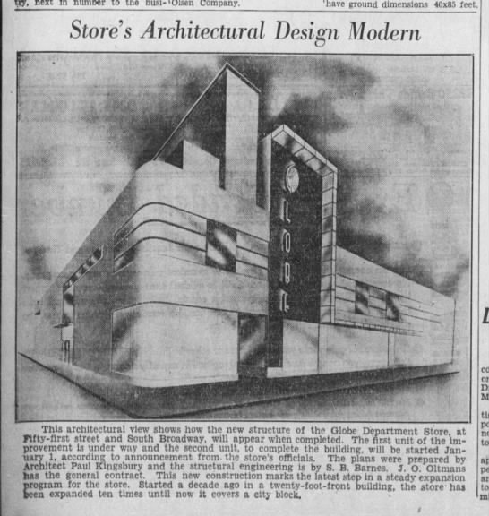 Globe Department Store New Building 1936 -