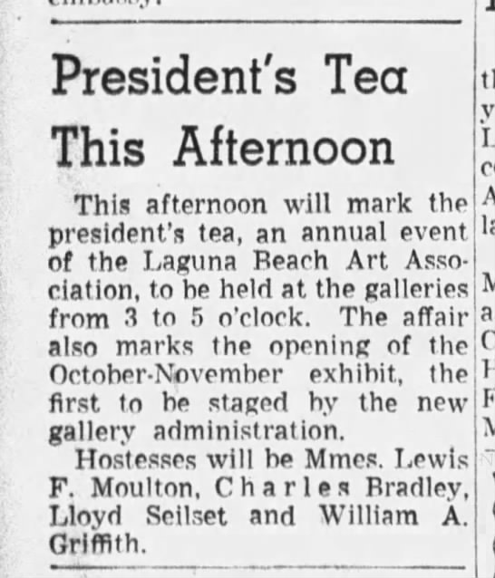 """Los Angeles Times, October 09, 1938, """"President's Tea This Afternoon."""" -"""