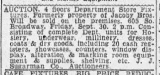 Jacoby Bros. liquidation final 605 S. Broadway 1938 -