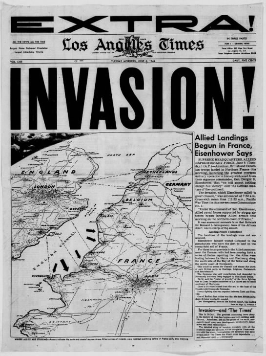 United States newspaper front page about the Allied D-Day invasion of France (including map) -