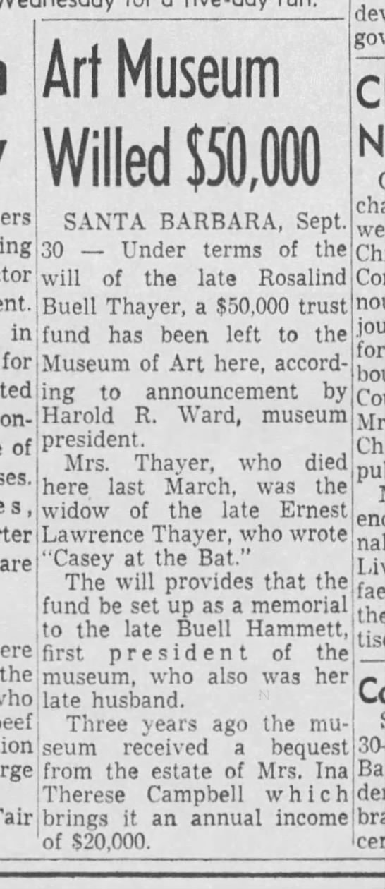 Art Museum Willed $50,000 Los Angeles Times 01 Oct 1956 (death of Rosalind Buell Thayer) -
