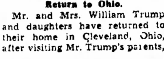 Mr&Mrs Wlliam Trump returns to Ohio -