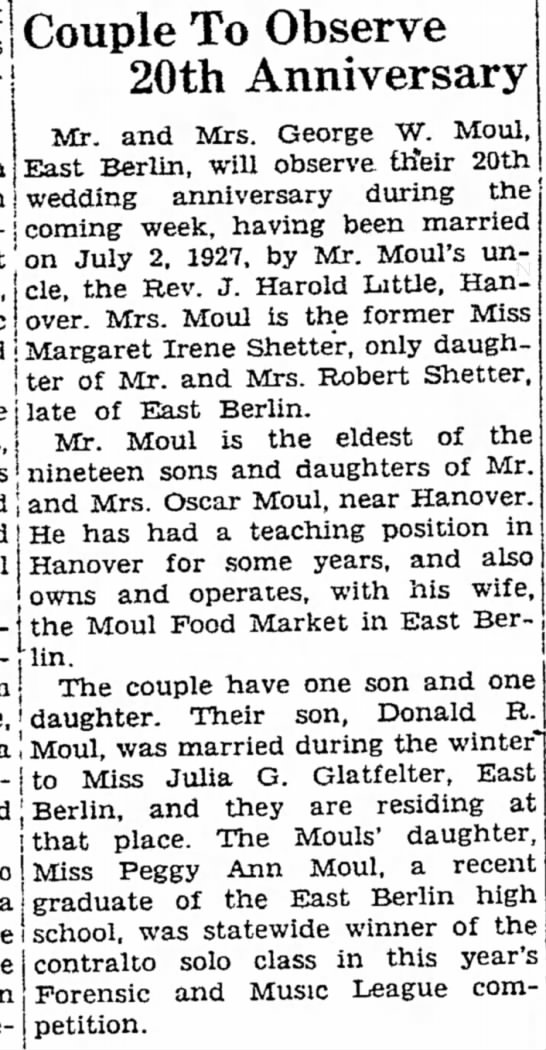 20th Anniversary of George W and Margaret Irene Shetter Moul-Jun 1927 -