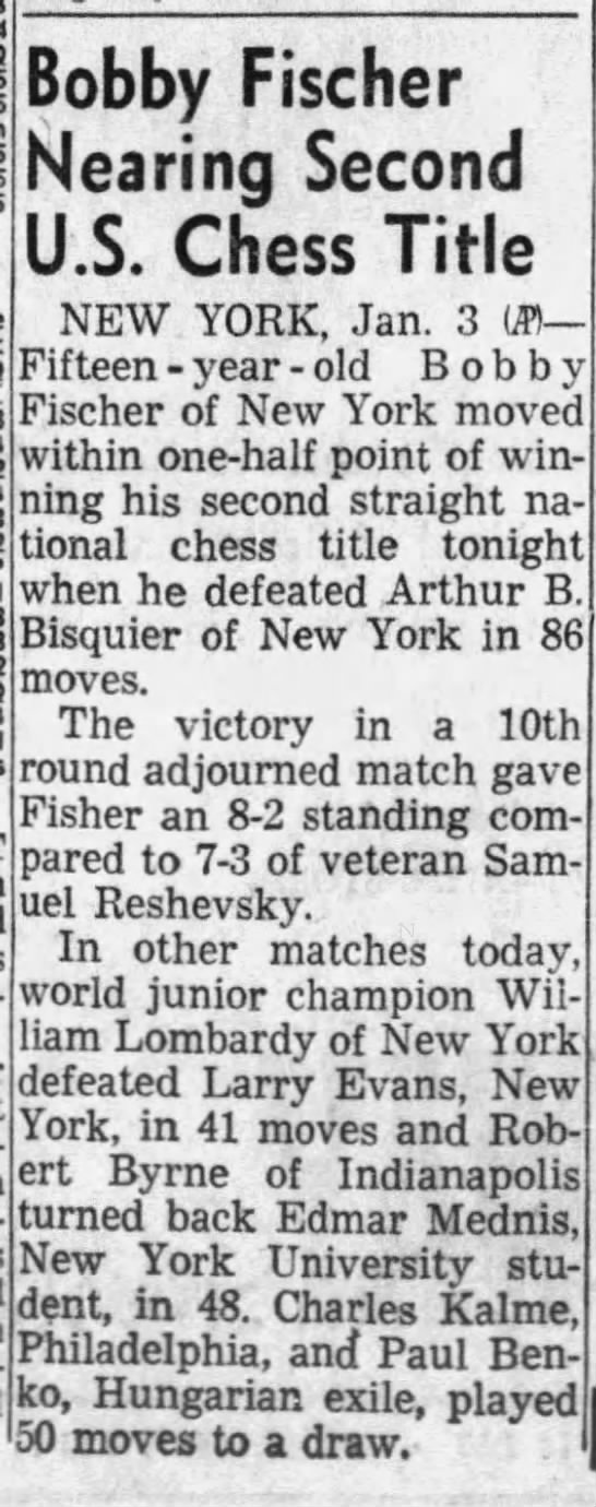 Bobby Fischer Nearing Second U.S. Chess Title - Bobby Fischer Nearinq Second U.S. Chess Title...