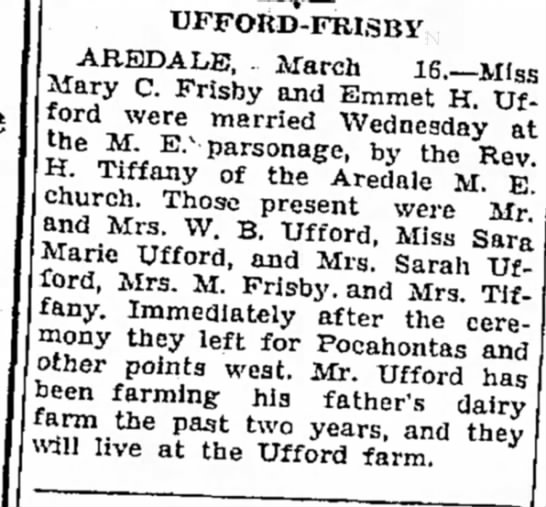 Emmet Ufford & Mary C Frisby marry - j Bavarian March IS.-- Miss Mary C. Frisby and...