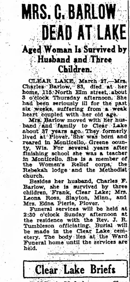 Mrs. C. Barlow Deat At Lake Aged Woman is Survived by Husband and Three Children -