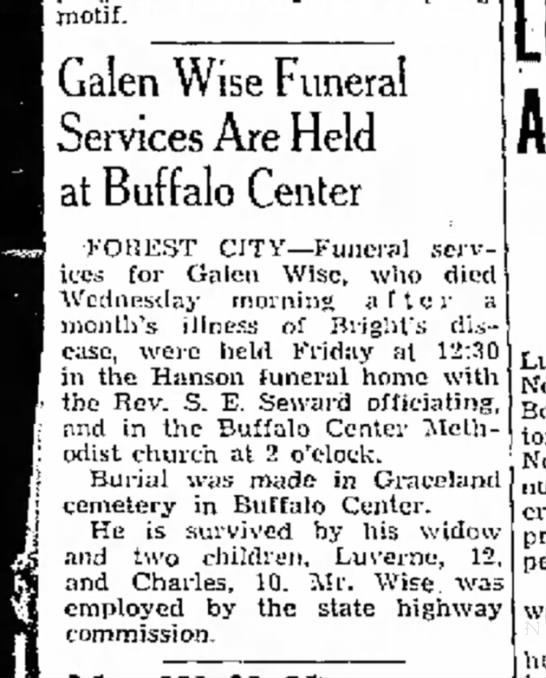 - i motif. Galen Wise Funeral Services Are Held...