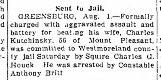 Charles Kutchinsky the Daily Courier 1 Aug 1932 -