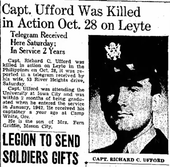 Richard C Ufford killed in action - become Capt. tifford Was Killed in Action Oct....