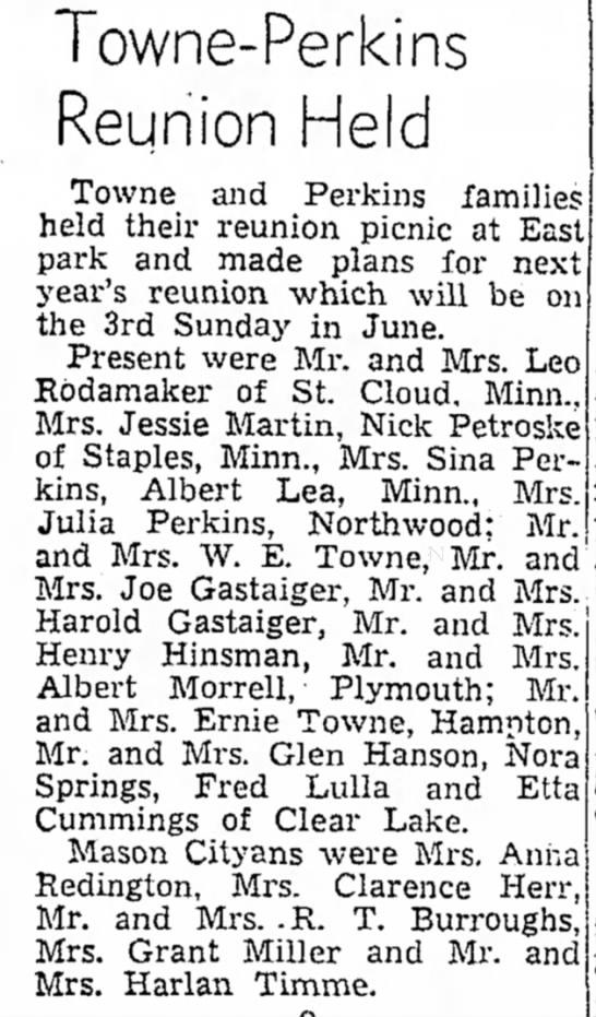 Towne-Perkins Reunion Held -