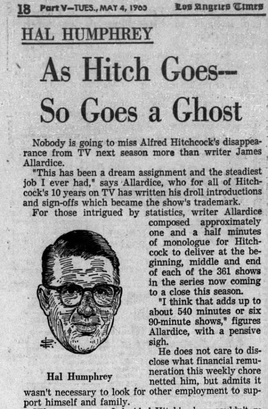 May 4, 1965: James Allardice, author of Hitchcock TV quips -