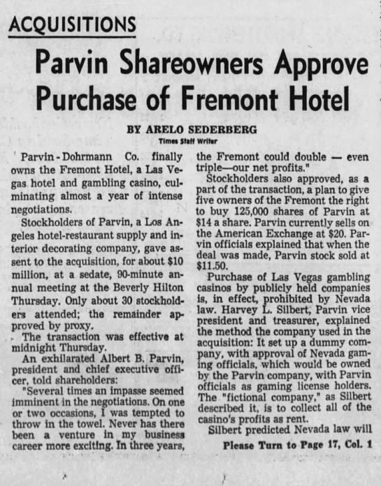 Parvin Shareowners Approve Purchase of Fremont Hotel -