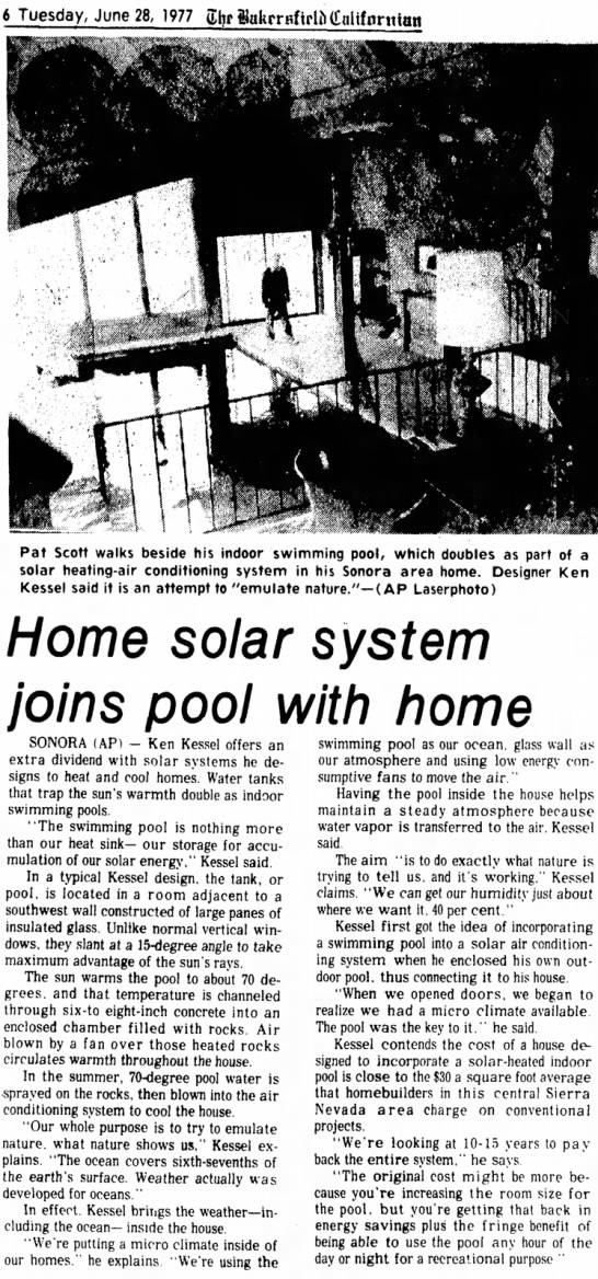 Newspaper article about one of Ken's solar homes -