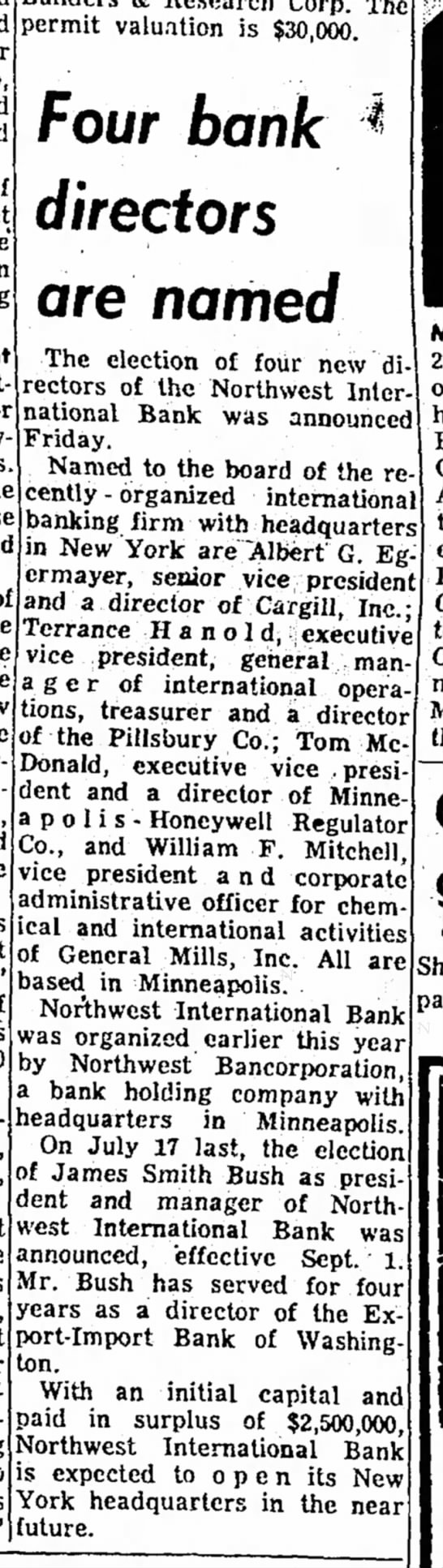 James Smith Bush-Director-NW Intern. Bank-Mason City Globe-p.17-3 Aug 1963 -