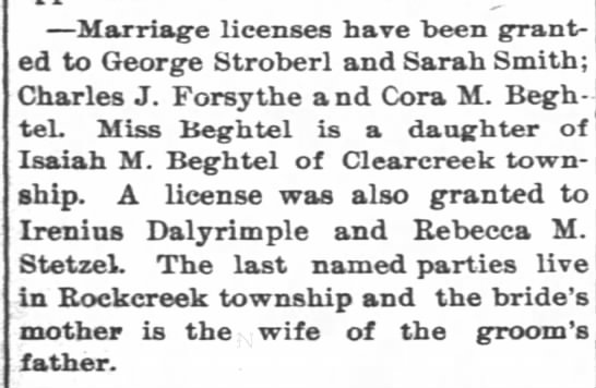 Cora Beghtel and Charles J. Forsythe marriage license March 4 1893 Daily Democrate -
