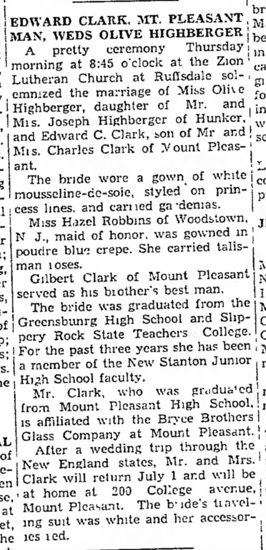 Olive Highberger weds Edward C Clark -