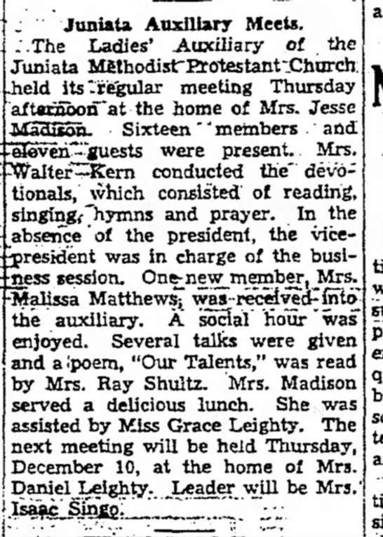 daily courier - 11.18.36 juniata aux meets.  home of mrs jesse madison, kern, grace leighty -
