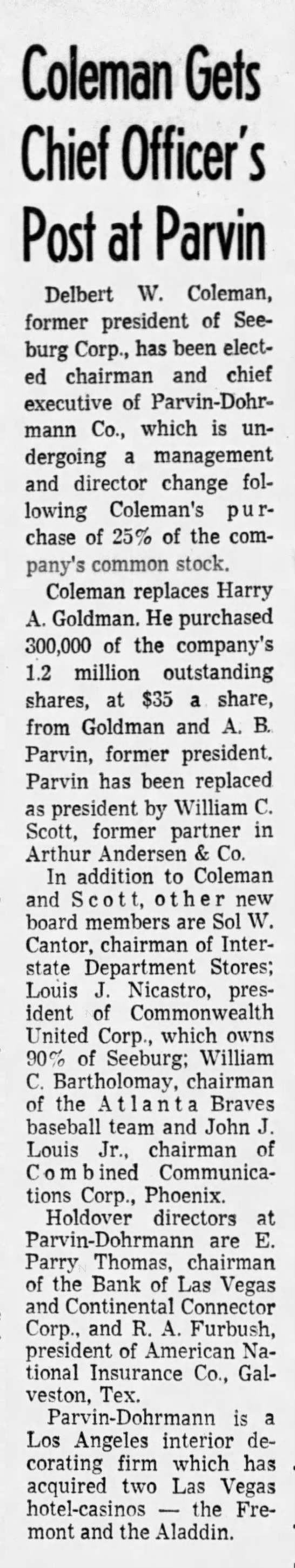 Coleman Gets Chief Officer's Post at Parvin -