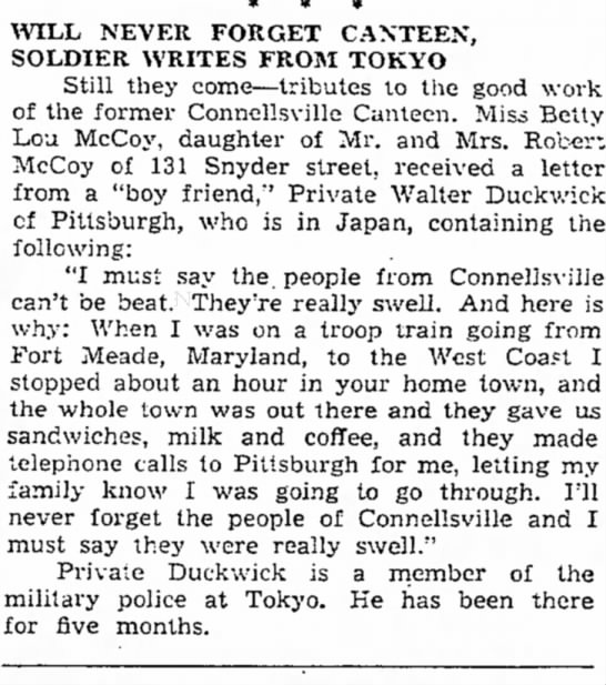 July 6, 1946 - WILL NEVER FORGET CANTEEN, SOLDIER WRITES FROM...