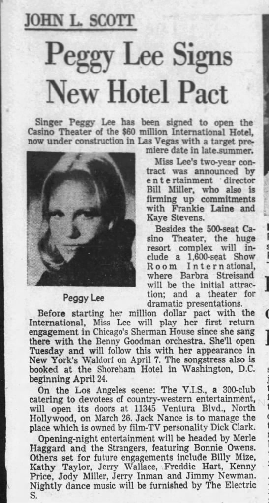 Peggy Lee Signs New Hotel Pact -