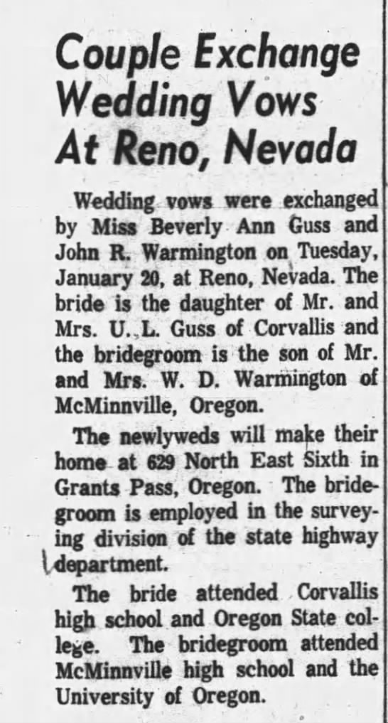 Bev and John marry 2/7/1959 -