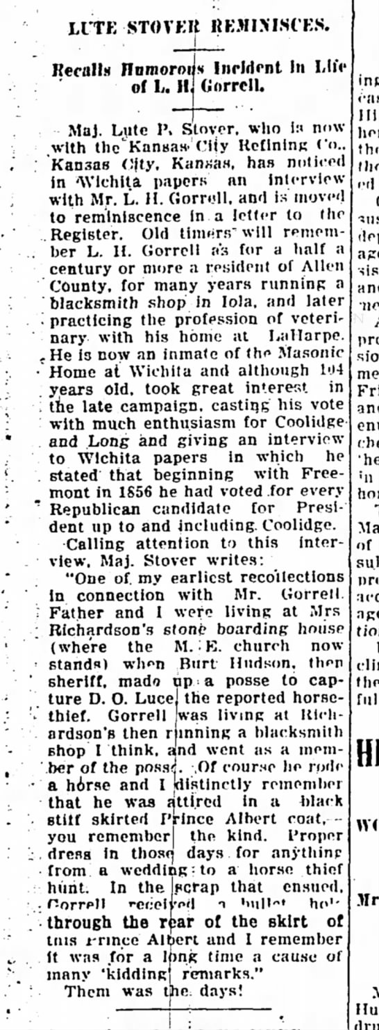Citizen Reminisces about Levi H. Gorrell - The Iola Register 11 November 1924 Page 5 -