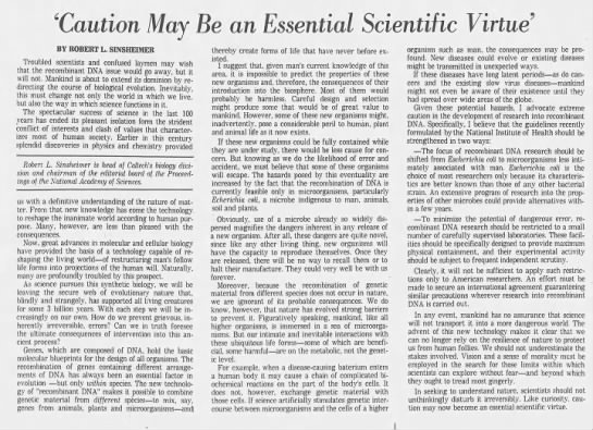 caution may be an essential scientific virtue -