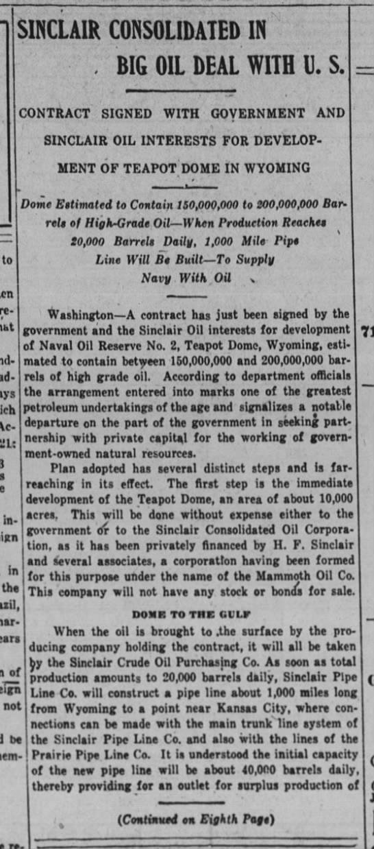 Wall Street Journal article that broke the news of the Teapot Dome Scandal -