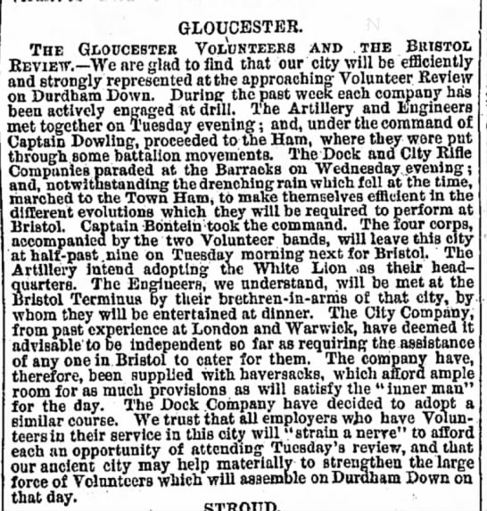 Daniel Dowling at Gloucester 1862 -
