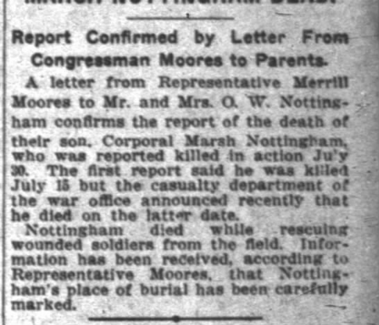 The Indianapolis News 28 Oct 1918 pg 17 col 8 Marsh Nottingham death -
